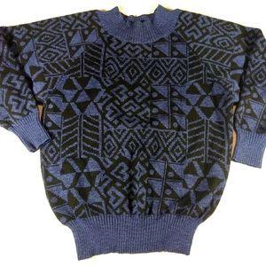 Vintage Wool Aztec Blue Black Sweater SZ M/L